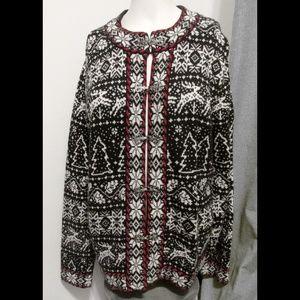 VTG Talbots x-mass Nordic Metal Clasp Sweater